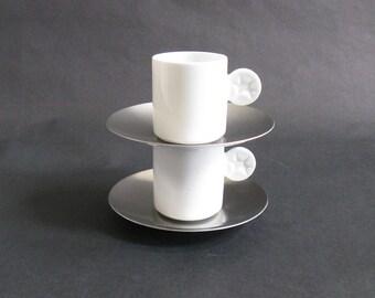 Pair Mono Doppio Porcelain Espresso Cup + Saucer Sets - Mikaela Dorfel - Mono, Germany - 1990s