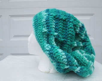 Green cable slouchy beanie, braid tam, hat for dreadlocks, winter hat
