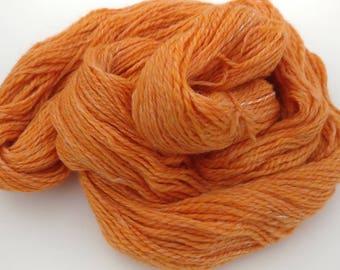 "Handspun merino, tussah silk yarn - ""Orange Creamsickle"" - 2 ply worsted weight"