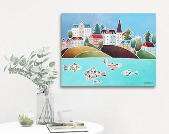 Cityscape Art Painting Coastal Wall Art, Harbor Wall Art Nautical Decor, Whimsical Art Original Painting on Canvas