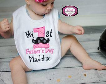 My First Father's Day, First Father's Day, Father's Day Bib, First Father's Day Bib, Holiday Bib, Baby Shower Gift