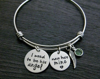 Wire Bangle / I used to be his angel now he's mine / In memory of Dad / Personalized / Memorial Jewelry / Hand Stamped / Remembrance