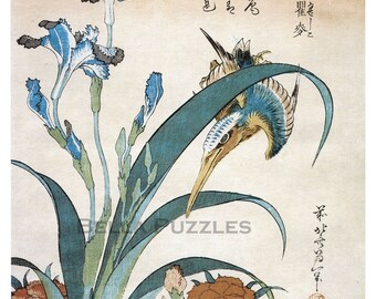 Hand-cut wooden jigsaw puzzle. KINGFISHER and IRIS. Hokusai. Japanese woodblock print. Wood, collectible. Bella Puzzles.