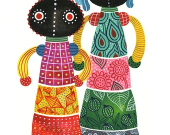 Ndbele Dolls II... original watercolor & gouache... 9 in x 12 in...