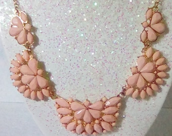 Vintage Pink Thermoset Cabochons Tiered Links / Bib Collar Style Neck;ace