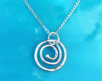 Fine Silver Swirl Necklace