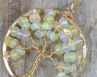 Opal Necklace Tree of Life Pendant 14k Gold Ethiopian Welo Opal Jewelry October Birthstone Necklace Genuine Opal Jewelry Birthday Gift RTS