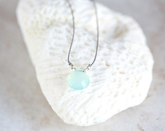 Chalcedony Necklace, Aqua Chalcedony Necklace, Blue AA Chalcedony Pendant, Rose Cut Chalcedony Briolette on Silver and Silk Cord Necklace