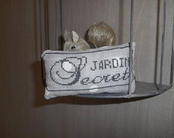 """nest egg """"secret garden"""" embroidered on linen"""