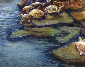 Cozy Rock - NEW (Giclee print of original watercolor, Matted)