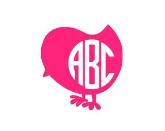 Custom Decal, Custom Monogram, Chick Monogram, Easter Monogram, Chick Decal, Cute Chick, Personalized Decal, Monogram Decal, Chick Monogram