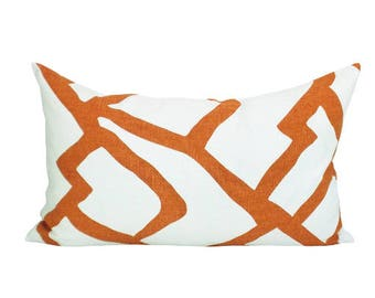 Zimba lumbar pillow cover in Orange