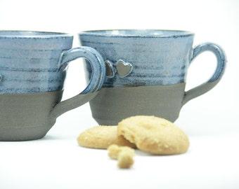 Cadeau romantique, cadeau de Saint Valentin, 2 tasse à café ensembles, isolé une tasse de café, tasse en céramique, Larg café tasse, tasse d'argile, bleu coupe, tasse expresso