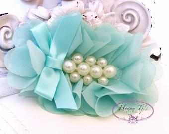 New: Pearlynn Collection - 2 pcs Silk Chiffon Pearl Fabric Flowers - AQUA/Seafoam GREEN Layered Bouquet flowers