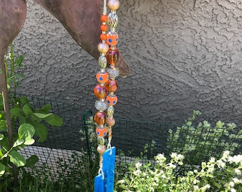 Fun Colors Marmalade Stained Glass Beaded Wind Chime for Patio, Garden, Yard
