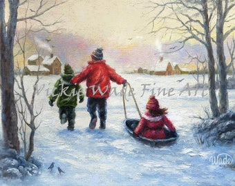 Three Children Sledding ORIGINAL Painting 9X12, two boys and a girl, two brothers and sister sledding, snow, winter art, Vickie Wade Art