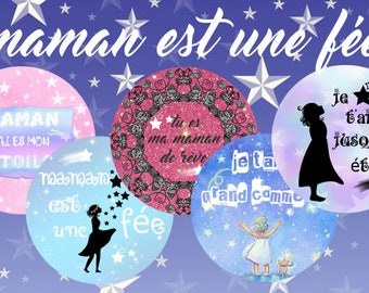 "Digital images - cabochon - jewelry - scrapbooking - collage ""MOM is a fairy 1"" 25mm - 20 mm - 18 mm"