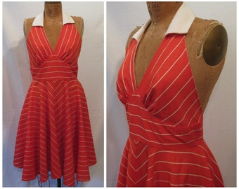 Vintage 80s does 50s dress, vintage Marilyn Monroe dress, 50s day dress, red striped dress, red halter dress, rockabilly dress, pinup dress