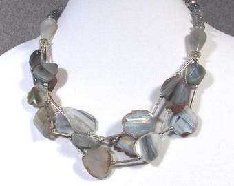 Beautiful Grey Blue AGATE Flat Sliced Beads and STERLING Silver Chain and Tubes Necklace