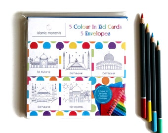 DIY Colour In Eid Cards, Colouring In Cards - Mosque Set