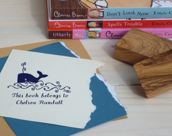 King of the Sea Olive Wood Bookplate  Stamp