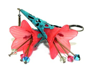 Lucite Trumpet Flower Earrings - Hand painted Turquoise Filigree Cone- Victorian coral Red Lily - Mothers Day Birthday gift idea