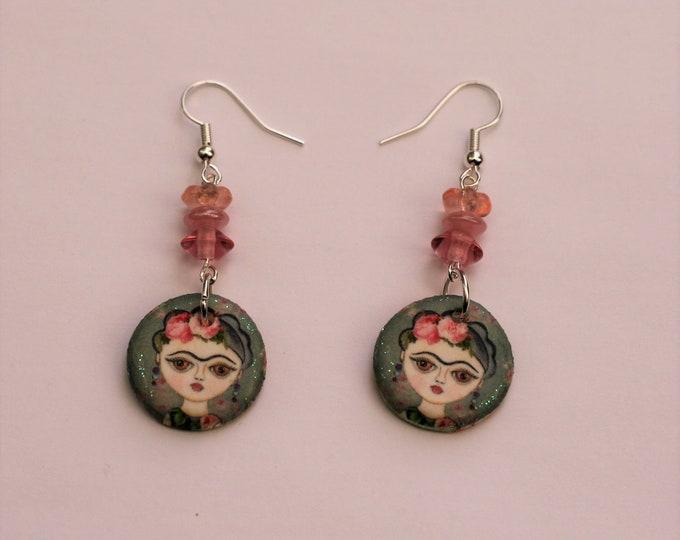Pink Frida Statement Earrings