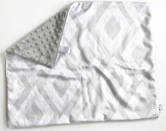 LOVEY - Mason - Baby boy unisex gender neutral security double minky blanket gray white modern bohemian boho ikat minimalist woodland