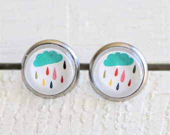 Round Glass Cabochon Stud Earrings 12mm  Multi Colour Rain Cloud Hypo Allergenic Surgical Steel Nickel Free Spotty Dots