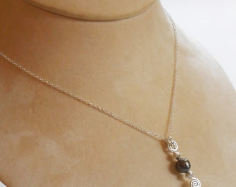 TAHITIAN pearl on sterling silver pendant