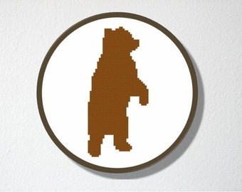 Counted Cross stitch Pattern PDF. Instant download. Bear Silhouette. Includes easy beginners instructions.