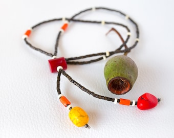 Red boho gemstone necklace – red yellow bohemian necklace semi precious stones – bohemian necklace – boho stone necklace – Aztec necklace