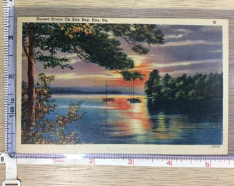 Vintage Old Post Card Sunset Scene On Erie Bay Erie Pa Word Written On Back Unused
