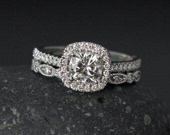Halo Cushion Cut Moissanite Engagement Ring - Forever One Colorless  - Leaf Milgrain Band, Wedding Set