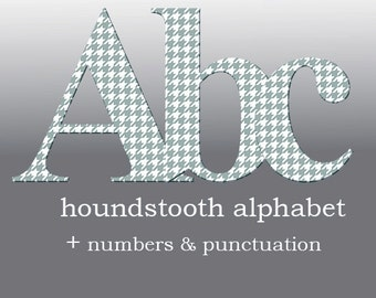 Houndstooth digital alphabet clipart, blue grey font with large and small letters, numbers and punctuation marks; for commercial use