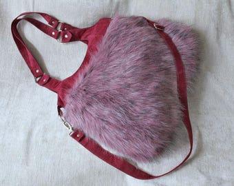 Shoulder bag, shoulder bag, faux fur