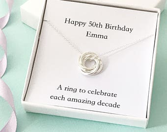 Personalised 50th birthday necklace - gift for 50th - 50th for mum - 50th for mom - 5 rings necklace - interlinked rings - russian rings