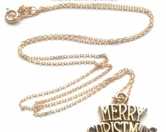 Gold Merry Christmas Necklace - Christmas Necklace - Holiday Necklace - Holiday Jewelry - Christmas Jewelry - Epsteam