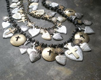 SET- Milagro Heart Blessing Necklaces.. Spiritual Ex Voto Design. Blessing Spiritual Jewelry. Boho Tribal Design. Frida Kahlo Collection