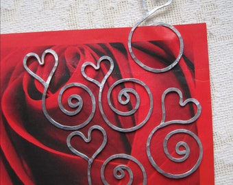 Heart Bookmark, hammered aluminum, personalized, etched, swirl, book marker, unique, love, lightweight, hostess gift, stocking stuffer