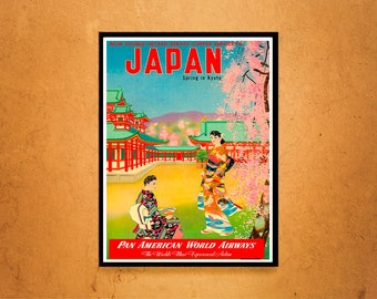 Reprint of a Vintage Airline Travel Poster - Pan Am to Japan