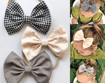 Queen Anne Set : {3 items} baby bow set- Black mini checkered plaid, peach Queen Anne Rifle paper & co, Solid Gray