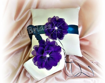 Deep purple and teal ring bearer pillow and flower girl basket, wedding ring cushion and basket set.