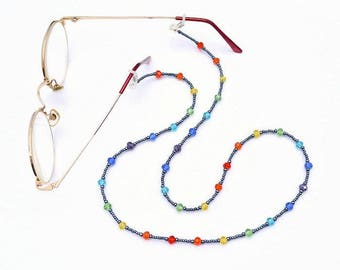 Rainbow Beaded Spectacle Holder, Rainbow Eye Glasses Chain, Rainbow Spectacle Cord, Rainbow Eye Glass Lanyard, Rainbow Glasses Holder