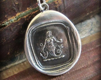 Mermaid Wax Seal Necklace - eloquence and enchantment - Mermaid Necklace  - wax seal jewelry silver - E2320