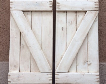"""2 Antiqued Distressed White Shutters 10"""" x 23"""" (20"""" wide combined)"""