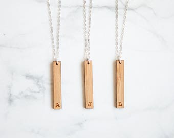 Custom Initial Vertical Bar Wood Necklace | Custom Engraved Wooden Bar Necklace Custom Bridesmaids Gift Jewelry  Custom Necklace Personalize