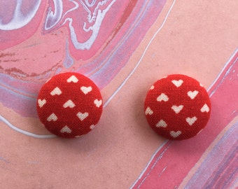 White Hearts on Red Fabric Button Earrings