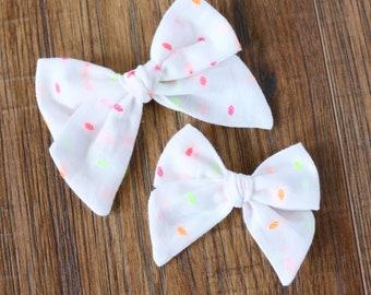 Neon Polkadot Hand Tied Hair Bow // Neon Hair Bows // Nylon Headband or Clips // Standard or Mini Size // Girls Hair Bow