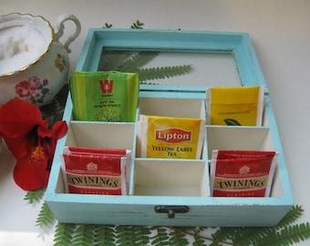 Pale Blue Tea Bag box Shabby Chic Home Decor / Tea bag box, wooden tea box, rustic tea box